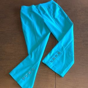 NWOT TRIBAL Aqua Blue Capri Pants Size 2